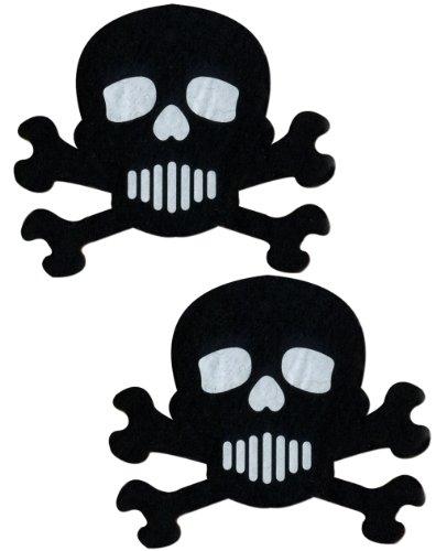 Skull Nipple Pasties Black & White Crossbones Pastease O/S