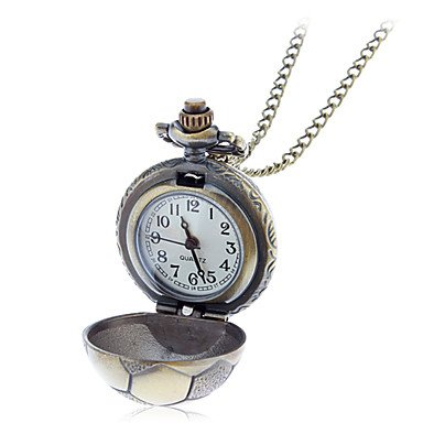 Unisex Football Shaped Bronze Alloy Quartz Necklace Watch