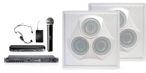 Wireless Conference Room Sound System 2 Ceiling Speakers, Mixer Amplifier, Dual Mic Wireless System