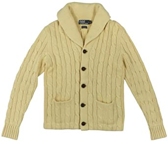 Polo Ralph Lauren Men's Cotton-Cashmere Cabled Shawl-Collar Cardigan Sweater (Medium, Yellow)
