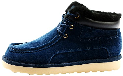 Rock Me Men's Thicker Wool Leather Flat Waterproof Ankle Snow Boots III (11 D(M) US, Blue)