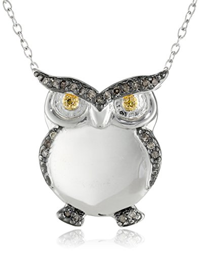 Sterling Silver Gun Metal Color Brown and Yellow Diamond Two-Tone Owl Pendant Necklace, 18