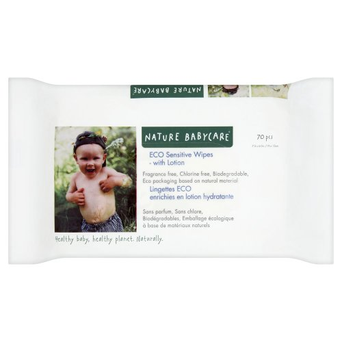 Nature babycare Eco Sensitive Wipes with Lotion, 70-Count Box (Pack of 10)