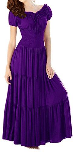 Peach Couture Gypsy Boho Cap Sleeves Smocked Waist Tiered Renaissance Maxi Dress Purple, Large
