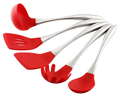 Essential Home & Kitchen Stainless Steel Silicone Kitchen Utensils Cooking Set, Perfect for use with any Cookware 5-Pieces (Teflon and Ceramic), Silicone Ended (Red) (Red Kitchen Utensils compare prices)