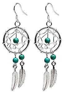 Dream Catcher Boucles d'oreilles - véritables pierres turquoises - Magnifique dessin et fini à la main à une haute finition joaillerie