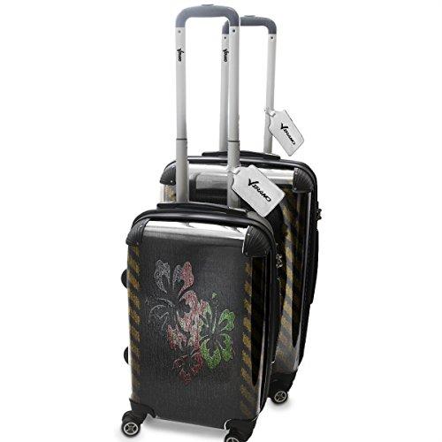 Drapeau de la Paix Afganistan, 2 pièce Set Luggage Bagage Trolley de Voyage Rigide 360 degree 4 Roues Valise avec Echangeable Design Coloré. Grandeur: Adapté à la Cabine S, M
