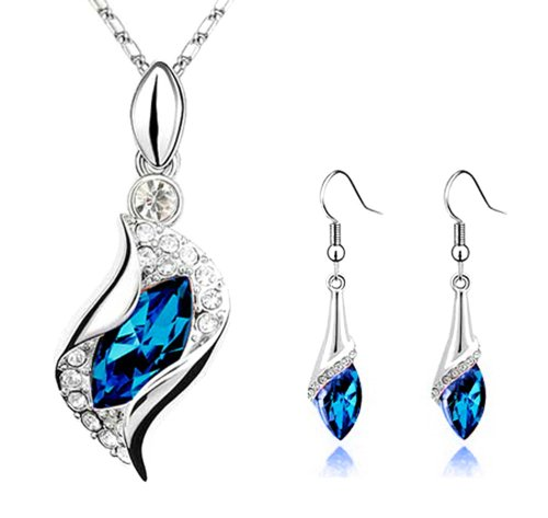 Sapphire Blue Long Teardrop Swarovski Element Set Austria Crystal Fashion Earrings Pendant Necklace FREE Organza Pouch Bag by Small Goby