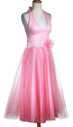Pink Halter Dress with Net Skirt