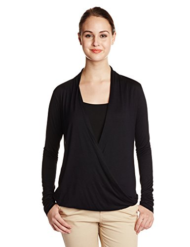 Wrap The Closet Label Women's Wrap Long Sleeve Top (Beige\/Sand\/Tan)