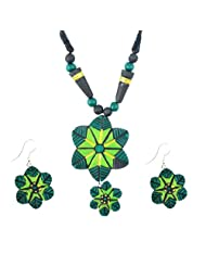 "ARTWOOD ""Harre Rang ke Sitare"" 3-piece TerraCotta Jewellery Set"