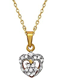 Mahi Gold Plated Valentine Gift Gift Floral Heart Pendant With CZ Stones For Women PS1101590G
