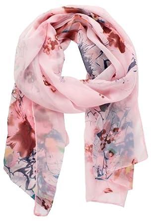 Womdee Women Fashion Soft Flower Chinese Style Chiffon Shawl Scarf (Pink) With Womdee Accessory