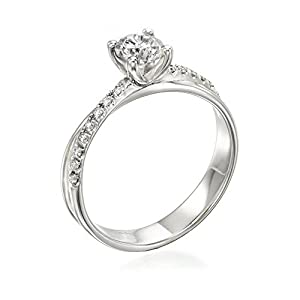 Diamond Engagement Ring in 14K Gold / White GIA Certified, Round, 0.42 Carat, J Color, VS2 Clarity