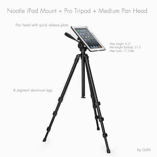 Grifiti Nootle Ipad Video Tripod With Pan Head And Ipad Tripod Mount Fits Ipad 2,3,4 This Is Our Pro Video Combination With Two Products Together For Coaches, Teachers, Parents, Outdoors Pro Video Pan Shots And Photos With Your Ipad 2,3,4
