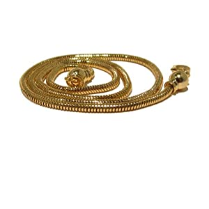 Brass Chain 02 Gold Plated Snake Removable End Necklace Thick Cord (Gift Box) (16 Inches)