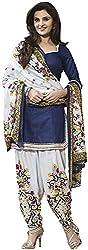Woman's Blue Cotton Printed Dress Materials (D0023_blue_Free size)