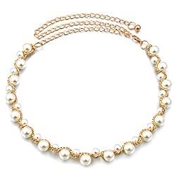 Ladies Pearl Metal Waist Chain Belt Charm Belt Gold for Women Dress Clothes