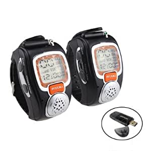 AGPtek® 2pcs Portable Digital Two-Way Radio Freetalker Walkie Talkie Wrist Watch Back Light Display With All in 1 Card Reader (12 hours AM/PM time display up to 5 Hours talk time)