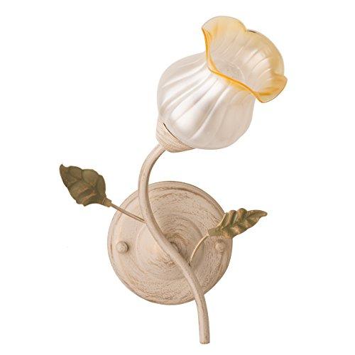 applique mural fleur support en métal coloré crème plafonnier en verre matte floral designe florentin ampoules non-incl 1x 60W E14 230 V