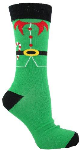 Da uomo Natale Calze UK 6-11EU 39-45 Green - Elf 40- 45