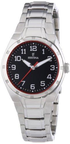 Festina Sport F16485/C - Reloj analógico de cuarzo para mujer, correa de acero inoxidable color plateado (agujas luminiscentes)