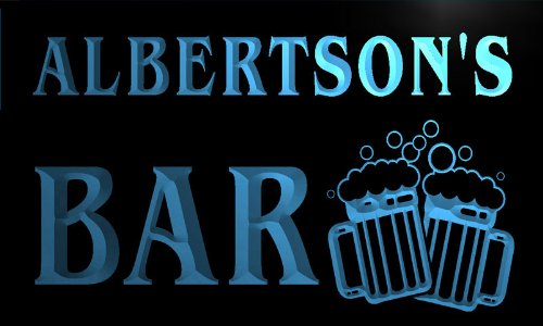 w003385-b-albertson-name-home-bar-pub-beer-mugs-cheers-neon-light-sign
