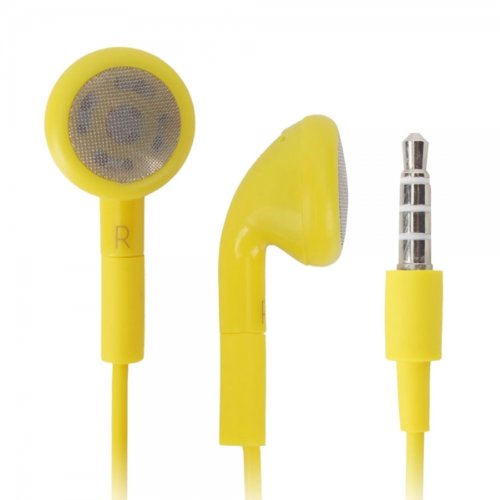 Yellow 3.5Mm Stereo Fashion Earphone Headsets With Microphone For Best Buy Insignia Flex (By Things Needed)