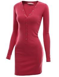Doublju Womens Solid Knit V-Neck Dress MAGENTA,L