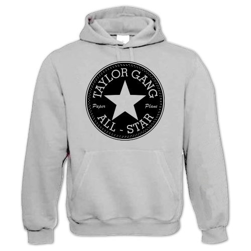 Bang Tidy Clothing Unisex-Adult Hip Hop Music Hoodie Inspired By Taylor Gang All-Star Wiz Khalifa Small Grey