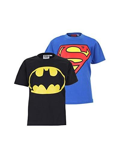 DC COMICS Set 2 Pezzi T-Shirt Manica Corta Pack 10 [Blu Royal/Nero]