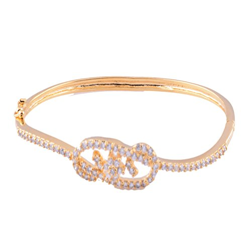 Ganapathy Gems 1 Gram Gold Plated Bracelet With White CZ - B00TLK6KZY
