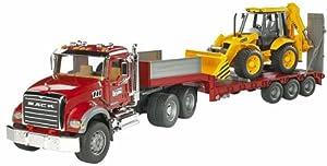 Bruder Mack Granite Flatbed Truck with JCB Loader Backhoe from Bruder