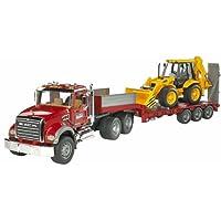 Bruder Toys Granite Flatbed Truck With JCB Loader Backhoe