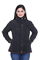 Trufit Full Sleeves Solid Women's Black Cream Hidden Hood High Neck Golden Zip Polyester Bomber Jacket