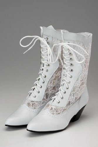 Western Wedding Boot Leather and Lace 7 M White