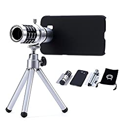 Mobilegear 12X Optical Zoom Telescope Mobile Camera Lens Kit with Back Cover & Tripod for Samsung S6