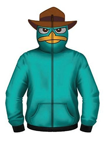 [Phineas and Ferb Perry the Pet Platypus Turquoise Costume Hoodie Zip Up Sweatshirt (Adult X-Large)] (Adult Perry The Platypus Costumes)