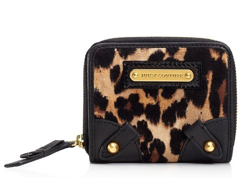 Juicy Couture Wild Things Camel Leopard Zip SFP Wallet