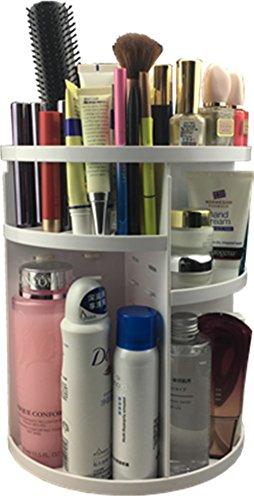 MISHOW Cosmetic Makeup Brush Holder Cosmetic Organizer Large Capacity Durable Makeup Box Holder Makeup Display Rotating Storage Cosmetic Box Spinning Rack 360 Revolving White MSCS03W (Spinning Countertop Display compare prices)