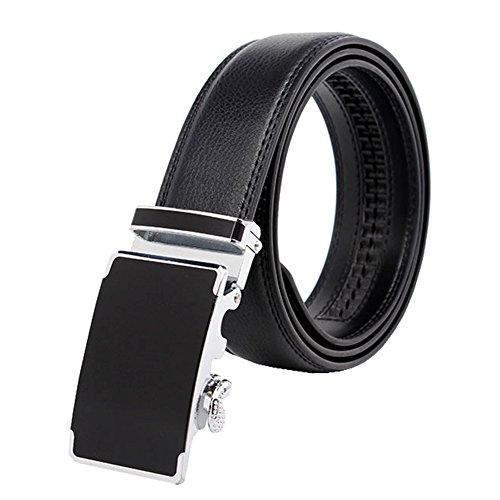Amy Men Slide Metal Alloy Buckle Automatic Ratchet Full Grain Leather Belt Black