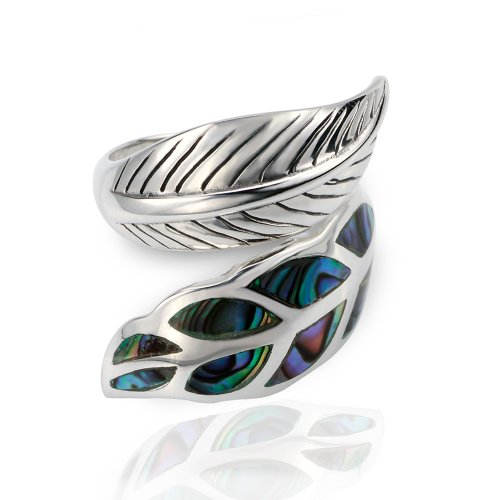 925 Sterling Silver Genuine Abalone Shell Wrap Around Leaf Ring - Adjustable Size 6, 7, 8, 9 (Silver Leaf Ring compare prices)