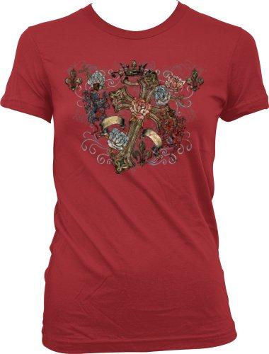 Gothic Cross And Fleur De Lis Juniors Tattoo T-Shirt, Old School Cross Tattoo Juniors Tee, Medium, Red