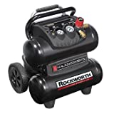 Rockworth RW1504ST2-CP 1.5 HP 4 Gallon Oil-Free Twin-Stack Air Compressor (Black) (Certified Refurbished)