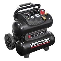 Factory-Reconditioned Rockworth RW1504ST2-CP 1.5 HP 4 Gallon Oil-Free Twin-Stack Air Compressor (Black)
