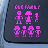 STICK FAMILY - Figures - Vinyl Car Decal Sticker #1648 | Vinyl Color: Pink