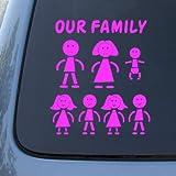 STICK FAMILY - Figures - Vinyl Car Decal Sticker #1648 | Vinyl Color: Pink