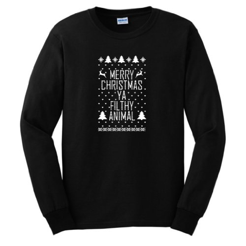 Merry Christmas Ya Filthy Animal Ugly Sweater Contest Winner Long Sleeve T-Shirt Ugly Fake Immitation Knit Home Alone Funny Reindeer Santa Snowflake Long Sleeve Tee