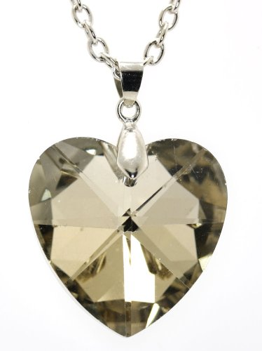 Multifaceted Triangle -Cut Topaz Austrian Crystal Heart Pendent Necklace