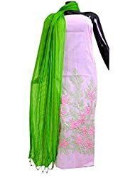 GiftPiper Kota Cotton Shadow Work Kurta Dupatta Set- Light Pink&Green